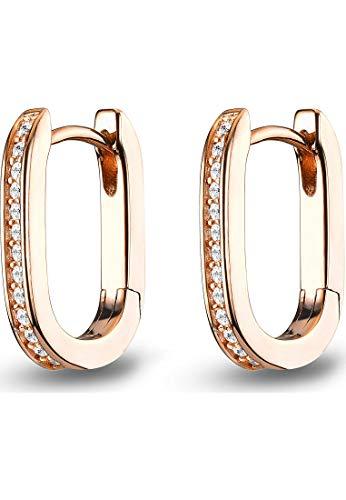 JETTE Damen-Creolen 925er Silber 28 Zirkonia One Size Roségold 32015356