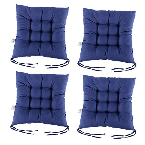 PandaHug Seat Pads for Dining Chair,Set of 4 Chair Pad Cushions with Straps for Indoor Outdoor Garden Office Living Room 40 x 40 cm (Navy Blue)