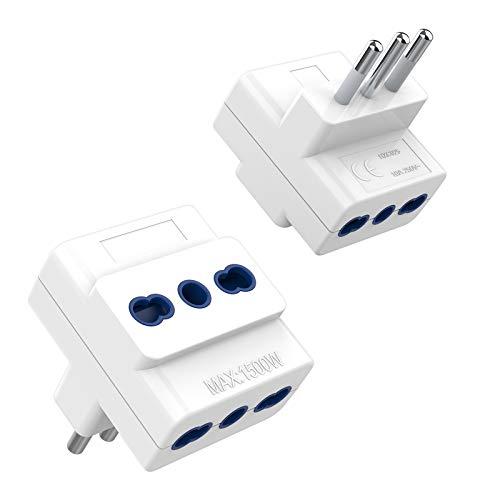 TESSAN Adattatore Multipresa Tripla 2 packs, Adattatore Presa 3 Prese Bivalenti 10A / 16A, Multipresa Elettrica di Spina 10A, Presa Tripla per Caricare Laptop, Tripla Multipresa per Casa e Ufficio