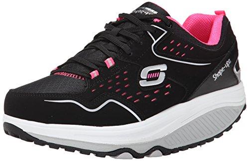 Skechers Women's Shape Ups Everyday Comfort Fashion Sneaker, Black/Hot Pink, 8.5 M US