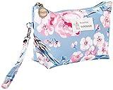 Bolsas para compensar portátiles a Prueba de Agua Bolsas de cosméticos de cupones Colada del Recorrido Bolsas de cosméticos Femenina,Flores de Color Azul Cielo