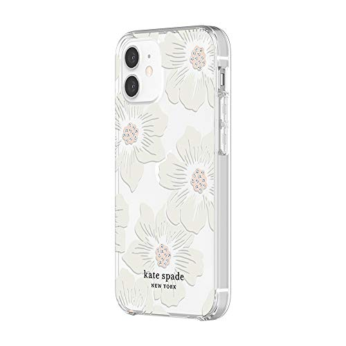 kate spade new york Protective Hardshell Case for iPhone 12 Mini  Hollyhock Floral Clear/Cream with Stones