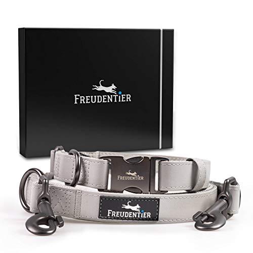 Freudentier® Hundeleine (2m) + Hundehalsband im Set inkl. Geschenkbox | Stilechte Lederoptik mit Mattschwarz | Außergewöhnlich Elegant & Verstellbar (30-42cm)