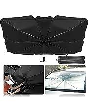 車用サンシェード 折り畳み式 傘型 車用パラソル フロントシェード 遮光 遮熱 収納ポーチ付き FENGLV