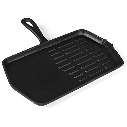 Rustler Hexagon Gietijzeren grillpan met steel en emaillen coating, 34 x 30,5 x 2 cm, pan voor haard, barbecue, kampvuur, gas- en houtskoolgrills, oven en fornuis