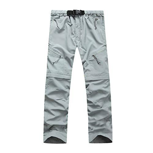 Winkey Mens Pantalones largos de senderismo impermeables para exteriores, unisex, informales plata L