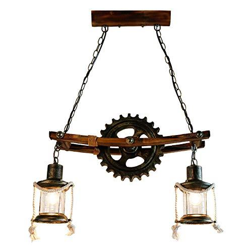 Suspensions Rustique Lampe Plafond à 2 lampes Design Lanterne en Bronze Luster Classic Décorative Métal Bois Table Lampe Pendante Bar Loft Luminaires Intérieur Salon Salle à Manger Café E27 55 * 32CM