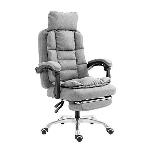 Comif-silla de oficina en casa con reposabrazos, Silla para computadora Silla ejecutiva reclinable a 155 ° de Tela Moderna con reposapiés, reposacabezas Ajustable, Gris