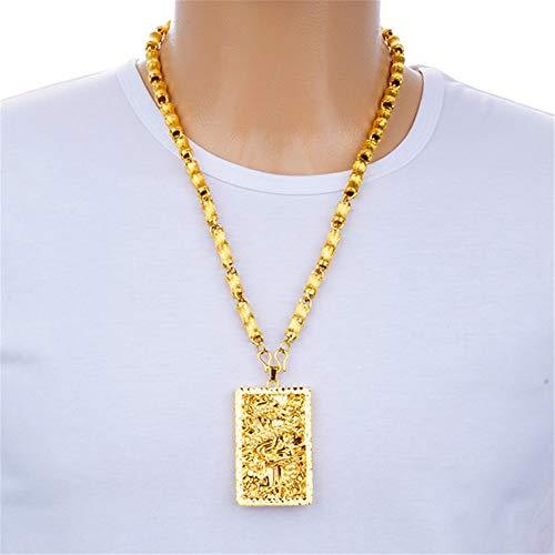 Überzog 24K Reales Gold Goldkette Herren Herrschsüchtige Drache-Anhänger-Halskette Mit Miami Cuban Link Stil Bambus Halskette Langlebiges, Ohne Zu Verblassen (Mit Geschenk-Box)