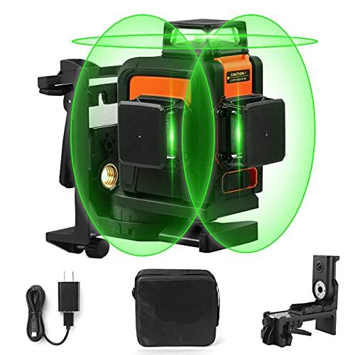 Kreuzlinienlaser, 3x360° Linienlaser Grün, 40m, 3D Laser level mit 5200mAh Lithiumakku und USB Ladegerät, Selbstnivellierungslinienlaser mit Pulsfunktion, Schwenkbarer Magnethalterung