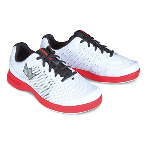 Brunswick Fuze Bowling-Schuhe für Damen und Herren, für Rechts- und Linkshänder Schuhgröße 39-46, (Weiß-Rot, 45,5)