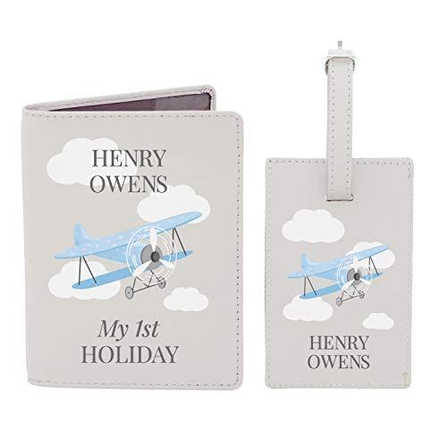 Personalised Blue Plane Passport Holder & Luggage Tag Boys Travel Passport Gift