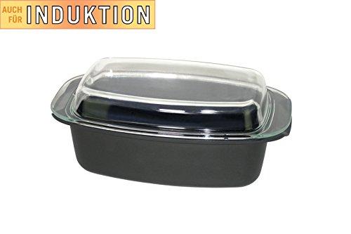XL Fisko Profi Aluminium Bräter #802390 mit Glasdeckel/Auflaufform - 5,5 Liter Inhalt - induktionsgeeignet