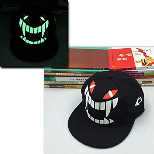 Gorra Fluorescente Masculina y Femenina Pareja Hip Hop Hat Hip-Hop Hat Luminosa Gorra Plana a lo Largo de Baseball Hat Monster Ajustable