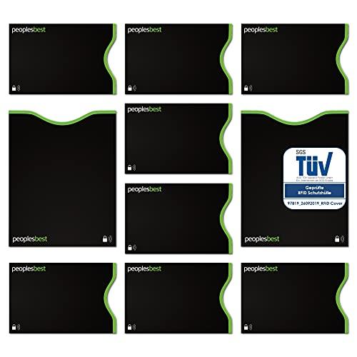 TÜV geprüfte RFID & NFC Blocker Kreditkarten- und Reisepass Schutzhüllen (10 Stück) | stabile EC Kartenhülle gegen Datenklau und unerlaubtes auslesen | dünn & reißfest für 100% Datenschutz (Schwarz)