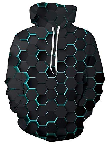 UNIFACO Weihnachtspullover Herren 3D Lustige Hässliche Weihnachten Sweatshirt Pullover Langarm Pullover Tops mit Tasche