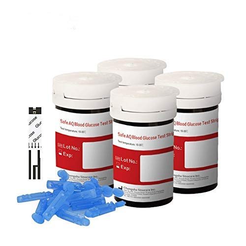 Sinocare Blutzuckerteststreifen x 100 nur für Safe AQ Smart & Safe AQ Voice, Schmerzfrei & Schnell, Wenig Probenvolumen