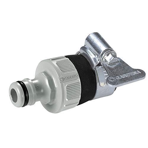 Gardena 2908-20 Adaptador de grifo universal para conectar la manguera de jardín Gardena a un grifo sin rosca con un diámetro exterior de 14-17 mm, resistente a la corrosión