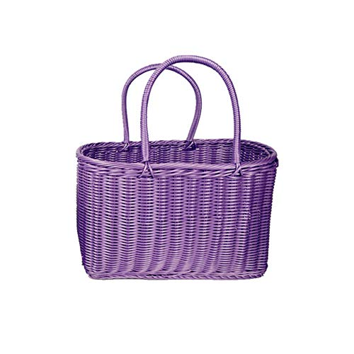 MOXIN Picnic Basket Rattan Wicker Hand Made Shopping Cart Bags with Double Folding Handles, Portable Shopping Bag Woven Picnic Basket Beach Bag Big Totes Storage Bag,Purple