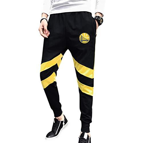 JNTM Deportes para Hombre Pantalones NBA Golden State Warriors Atletismo Baloncesto De La Manera Pantalones Deportivos Pantalones Cómodos Ocasionales Logo Flojo del Equipo para La Juventud Black-M