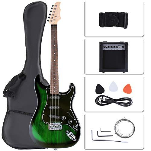 LAGRIMA Full Size 39 inch Electric Guitar Beginner Kit with Amp, Tuner, Strings, Picks, Shoulder Strap, and Bag(39,Green)