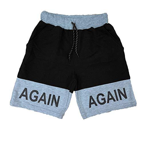 Crazy - Pantalones cortos de deporte para hombre, algodón, con cremallera Negro y gris claro. M