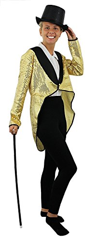 Disfraz de cabaret de oro para mujer, de sequín, para hombre, color dorado