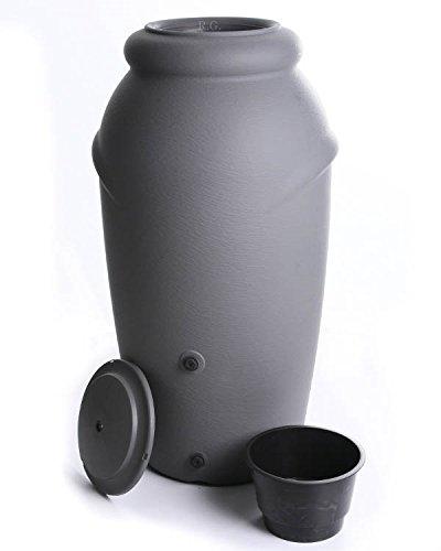 Regenwassertonne Regentonne Regenbehälter Regentank Amphore 210L 3 Farben Wasserhahn wählbar (Grau)