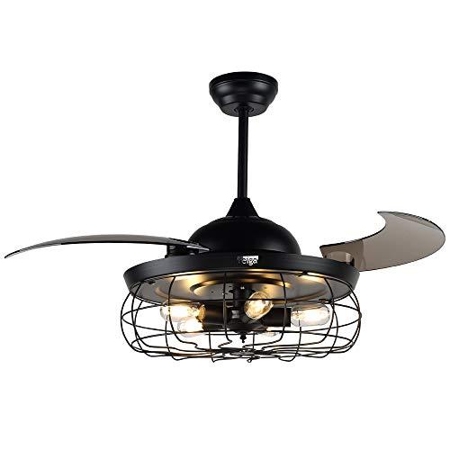 H&Fun 112CM Ventilatore da Soffitto con Luci a LED Dimmerabili, Telecomando, Motore Silenzioso per Soggiorno/Ristorante/Camera da Letto - Nero