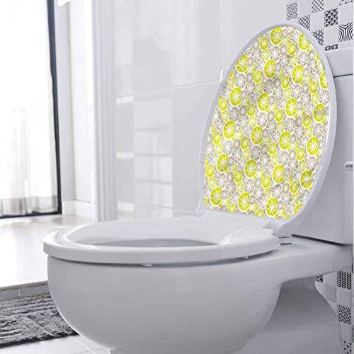 Adhesivo impermeable para asiento de inodoro, diseño abstracto, retro, japonés, floreciente, vinilo para baño, baño, hogar, silla, sofá, 35 x 18 pulgadas