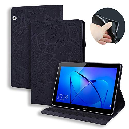 Tifightgo Case Tablet Hülle für Huawei MediaPad T5 10.1,Spitzenblume PU Lederhülle Folio Stand Schutzhülle mit Dokumentschlitze Multifunktion Kunstleder Kompatibel für Huawei MediaPad T5 10.1 Zoll