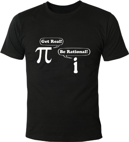 Mister Merchandise Homme Men Chemise T-Shirt Get Real! Be Rational! Math Nerd, Size: XL, Color: Noir