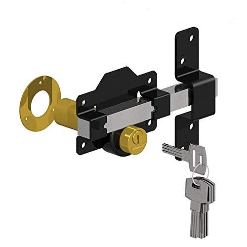 Gatemate Doppel-Torverriegelung mit langem Riegel, für 70 mm dicke Türen und Tore, Edelstahl, 5 Schlüssel