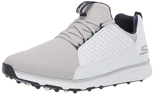 Skechers Herren Waterproof Golf Shoe Mojo, wasserfester Golfschuh, Weiß/Grau Textil, 48 EU