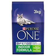 Purina ONE Indoor Dry Cat Food Turkey and Wholegrain, 3kg