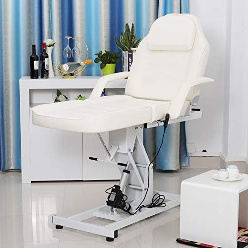 Qivange Elektrische Massage Tafel Massage Bed Tattoo SPA Schoonheidsverzorging Salon Bed Elektrische Bank Liggend (Crème Wit)