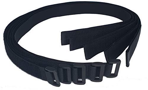 5x Shedspace360 Klettband mit Öse/Schnalle - Klett Kabelbinder lang mit 75 cm Nutzlänge und 2,5cm Breite in schwarz - zum Befestigen, fixieren und sichern in Haus Garten Werkstatt und Freizeit