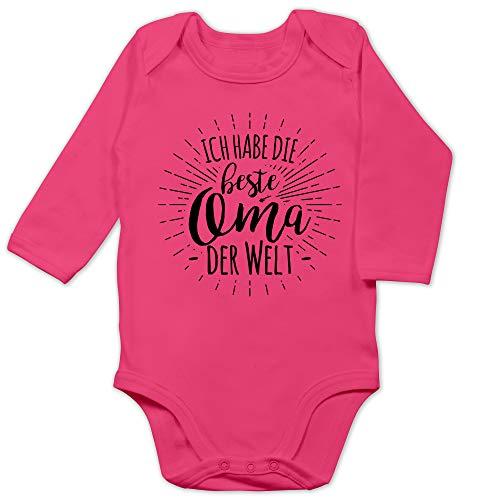 Shirtracer Statement Sprüche Baby - Ich Habe die Beste Oma der Welt - 3/6 Monate - Fuchsia - Baby Strampler oma - BZ30 - Baby Body Langarm