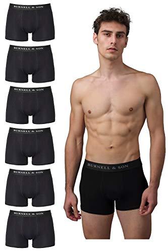 Burnell & Son Boxershorts Herren schwarz weiß grau blau 6er Pack Unterhosen Männer aus atmungsaktiver Baumwolle S-XXXL 6X Schwarz, XL