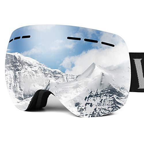 wolfyok Ski Snowboard Snow Goggles Dual Layers Anti-Fog Lens UV400 Protection Over The Glasses OTG Ventilation Design for Men Women (Grey Bass Mirror Silver)