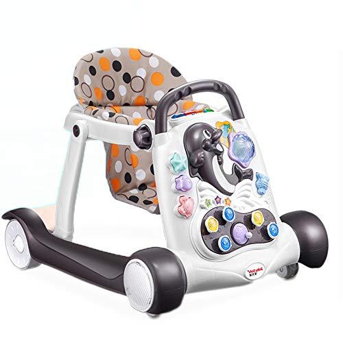 YZT QUEEN Lauflernhilfe für Babys, interaktive Multifunktions-Lauflernhilfe für Babys mit DREI Funktionen, Anti-Roll-Kinderwagen, zusammenklappbar,Mocha