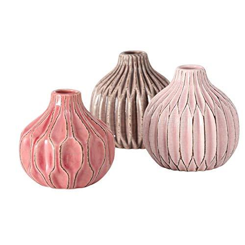 CasaJame 3 x Portafiori da Interno ed Esterno - Vasi Ceramica da Tavola per Piante - Fioriere in Porcellana Decorativa con Struttura a Rilievo - Terracotta Rosa Beige Altezza 11cm, Ø 11cm