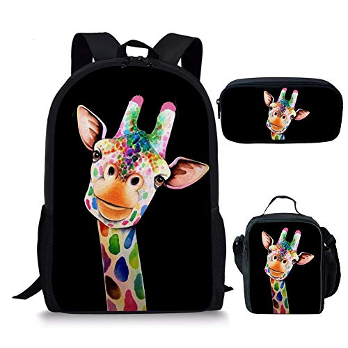 Agroupdream School Backpack Set 3 Pieces Giraffe School Bags Set for Children Casual Daypack Kids Lunchbox Pencil Case Students Pack