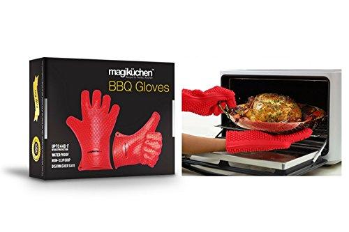 Ensemble de gants de cuisine en silicone résistants à la chaleur de haute qualité pour une utilisation à la place de maniques – Gants pour le four, fumage et barbecue - proposés par Magiküchen – Meilleurs accessoires de cuisine.