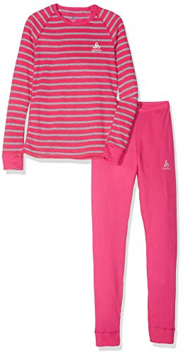 Odlo Kinder Set Active Originals WARM Kids Unterwäscheset, Beetroot Purple - Grey Melange - Stripes, 128