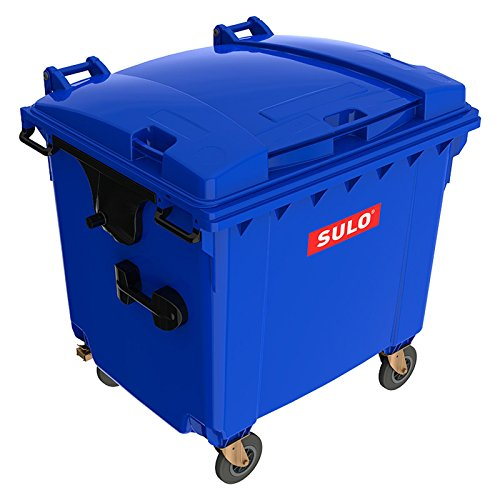Sulo Blaue Mülltonne MGB 1100 Liter Behälter Kübel Container | 4-Rad-Behälter mit Flachdeckel | Robuste Deckelkonstruktion | Blau