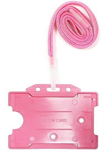 Customcard sistema de seguridad Lanyard con abierto cara tarjeta de identificación soporte–Rosa