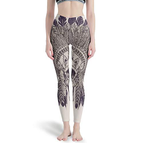 Gamoii - Mallas deportivas para mujer con diseño de calavera, talle indio, impresión 3D, pantalones de yoga, cintura alta, mallas largas blanco L