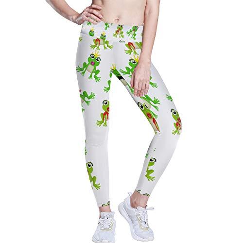 FANTAZIO - Pantalones de yoga con diseño de rana o princesa, cintura...