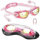 DAWINSIE Occhiali da Nuoto Unisex Adulti, Anti Appannamento, Protezione UV Occhiali da Nuoto Ragazzi, con Clip per Il Naso, Tappi per Le Orecchie Conjoined, Custodia per Occhiali